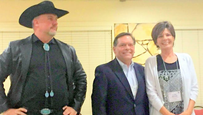 Speaking to the Lincoln County Republican Party, candidate running in the party primary for the Second Congressional District of New Mexico are from left, Gavin Clarkson, Monty Newman and Yvette Herrell.