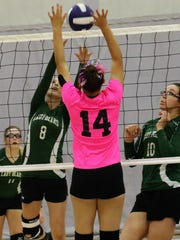 Cloudcroft's Kaitlynn Bowman (8) tries to set a ball