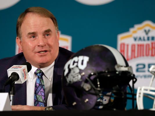 TCU head coach Gary Patterson takes part in a news conference for the Alamo Bowl NCAA college football game, Wednesday, Dec. 27, 2017, in San Antonio. The game is scheduled for Thursday, Dec. 28. (AP Photo/Eric Gay)