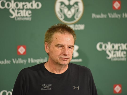 CSU basketball coach Larry Eustachy didn't say much during his press conference after the Rams missed the NCAA tournament.