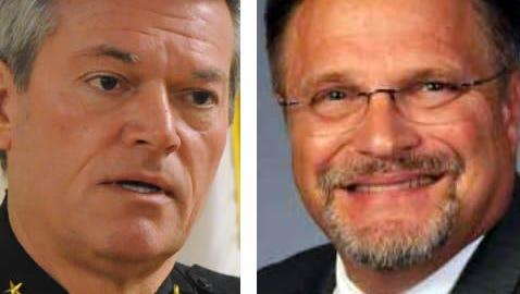 Sheriff David Morgan, left; former Escambia County Commissioner Gene Valentino, right.
