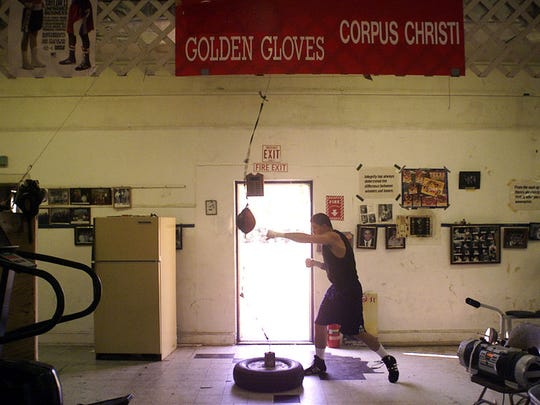Joaquin Zamor, a 156 junior middleweight fighter and a serviceman in the Navy, works out at the Corpus Christi Police Officers Association boxing gym in the old Centennial Museum in South Bluff Park.