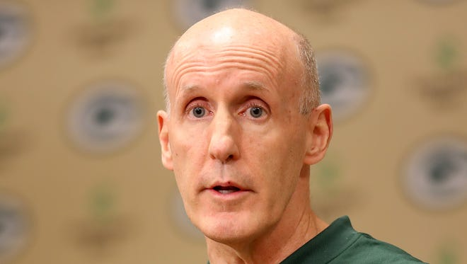 Green Bay Packers offensive coordinator Joe Philbin talks about his new role with the team on Jan. 24, 2018, at Lambeau Field.