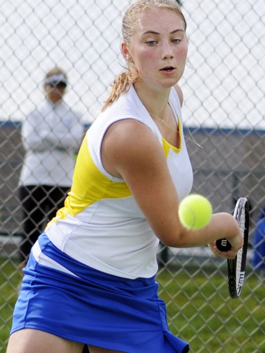 In this file photo, Northern Lebanon's Maja Andersson takes on Elco's Sydney Nye on Saturday, September 19, 2015. Andersson finished third in the state tennis finals on Saturday, November 7, 2015.