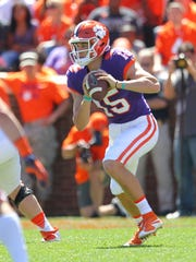 Clemson quarterback Hunter Johnson (15) during the Clemson's NCAA college football spring game at Memorial Stadium in Clemson, S.C. on Saturday, April 8, 2017.