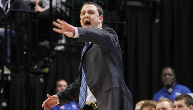 Butler Bulldogs coach Brandon Miller on the sidelines against the Purdue Boilermakers during the Crossroads Classic at Bankers Life Fieldhouse.