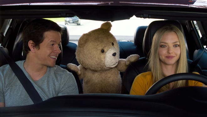 """Mark Wahlberg, the character Ted, voiced by Seth MacFarlane, and Amanda Seyfried appear in a scene from """"Ted 2."""""""