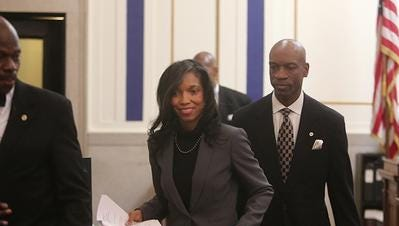 Suspended Judge Tracie Hunter in court.