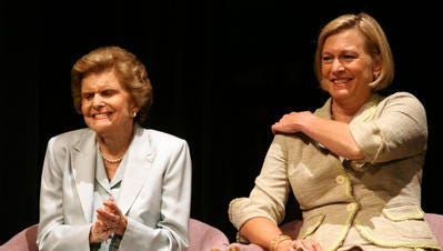 Betty Ford, left, and her daughter Susan Ford Bales smile during the unveiling ceremony for the Gerald R. Ford Commemorative stamp on the first day of the issue of the stamp at the McCallum Theatre in Palm Desert, California on Friday, August 31, 2007.