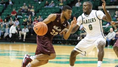 Guard Justin Roberson (32) continued his recent tear through the Sun Belt Conference by scoring 21 points in ULM's 76-57 win over Texas State.