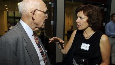 Lee Thomas Jr., celebrated the 50th anniversary of the ACLU of Kentucky in 2005 with national ACLU President Nadine Strossen.