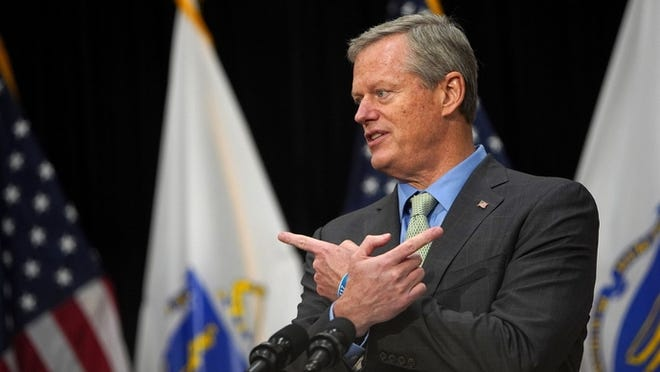 Gov. Charlie Baker speaks during Thursday's press conference.