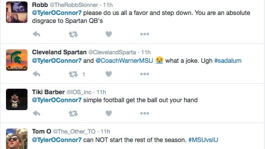 MSU quarterback Tyler O'Connor has been heavily criticized on Twitter for his recent performances.