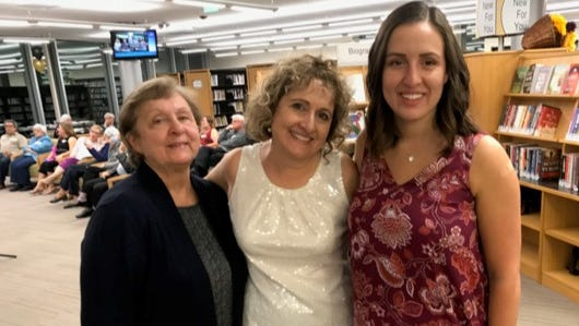 """This trio -- Marie Giglio of Northville (left) and Linda Rose and Lia Busse, both of Novi -- represents three generations at the Oct. 13 """"Booked for the Evening"""" event at the Novi Public Library."""