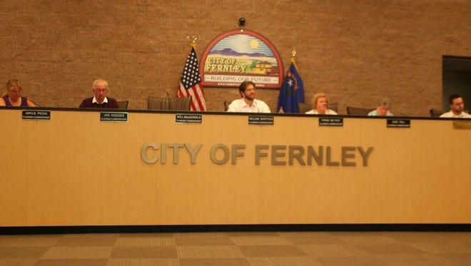 The Fernley Planning Commission listens to Mayor Roy Edgington during a presentation about its function at its Sept. 14 meeting in the city council chambers. Commissioner Will MacDonald was absent.