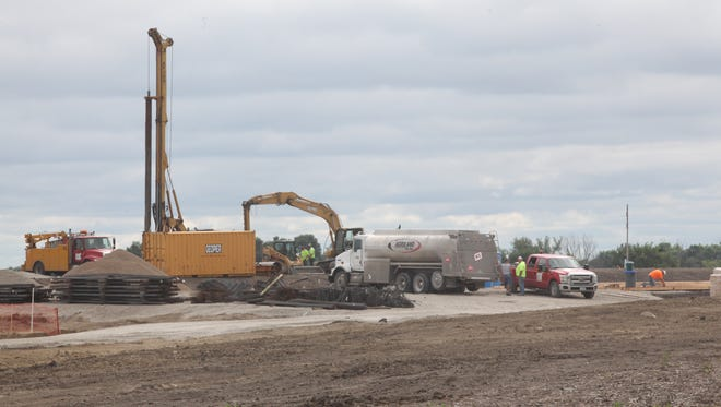 The construction site of Heartland Co-op's grain elevator outside of Fairfield is seen on Tuesday, July 15, 2014. The site is directly across the street from Overland Sheepskin's headquarters.