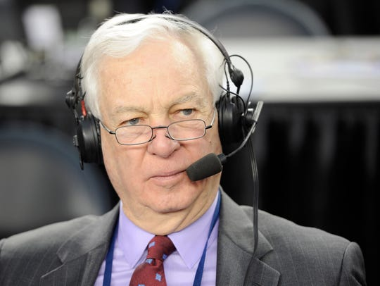 FILE -- Radio and TV analyst Bill Raftery does a radio