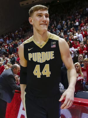 Purdue Boilermakers center Isaac Haas (44) is seen after the game against the Indiana Hoosiers at Simon Skjodt Assembly Hall in Bloomington, Ind., on Wednesday, Jan. 28, 2018.