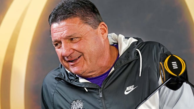Jan 11, 2020; New Orleans, Louisiana, USA; LSU Tigers head coach Ed Orgeron during the  College Football Playoff National Championship media at Xavier University of Louisiana Convocation Ce. Mandatory Credit: John David Mercer-USA TODAY Sports ORG XMIT: USATSI-423518 ORIG FILE ID:  20200111_pjc_sx1_130.JPG