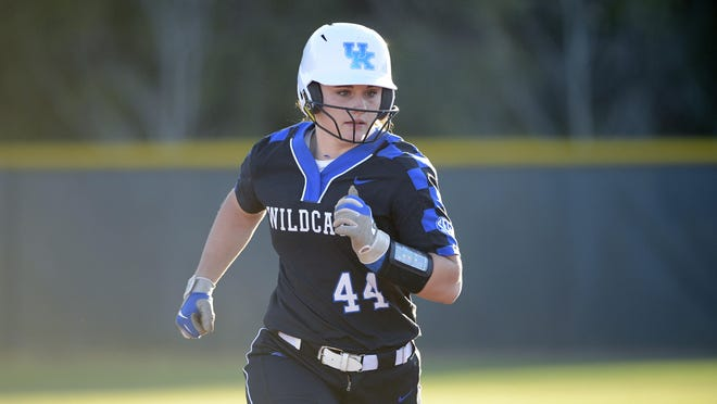 Kentucky freshman Gabi Deters runs to third base during a game against Detroit Mercy on Feb. 29 in Longwood, Fla. Deters, a Bowling Green native, is transferring to Missouri, where she will have four seasons of eligibility remaining but must redshirt the 2021 season.
