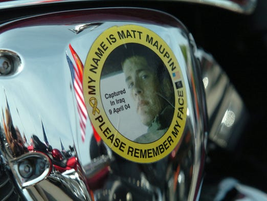 A sticker supporting US Army Staff Sgt. Matt Maupin, is on one of the Patriotic Guard motorcycles.