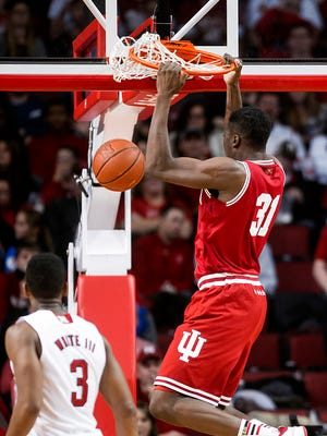 Indiana center Thomas Bryant (31) dunks against Nebraska during the second half of an NCAA college basketball game Saturday, Jan. 2, 2016, in Lincoln, Neb. (Kristin Streff/Lincoln Journal Star via AP)
