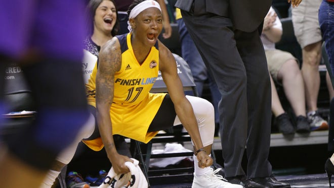 Indiana Fever guard Erica Wheeler had 19 points, six assists and five rebounds as the Fever beat the Seattle Storm 83-80 in a last-second finish on Friday. This photo was taken  during the team's May 24 game.
