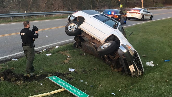 A stabbing suspect wrecked a Ford Explorer on Tuesday night on Hermitage Road in Augusta County.