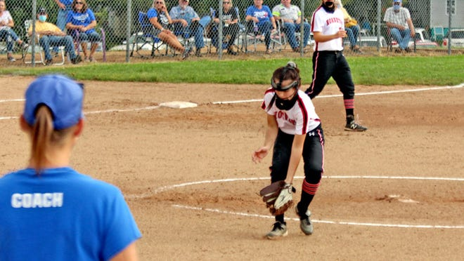 2020 Chillicothe (Mo.) HS junior pitcher Halle Rucker fields a comeback tap to her left during her fourth and final inning of hurling during CHS' Saturday (9/12) home game against Princeton. Rucker got the out at first and the next batter, as well, to close out her solid stint which helped the Lady Hornets eventually prevail 9-3.
