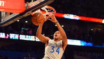 Eastern Conference forward Giannis Antetokounmpo led his team with 30 points on Sunday night,