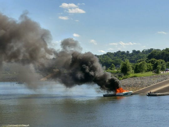A boat was on fire at the Clarksville Marina Monday