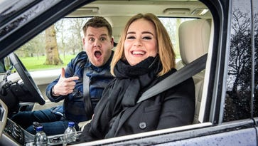 Adele, right, helped James Corden achieved record viral viewership when she joined him for Carpool Karaoke.