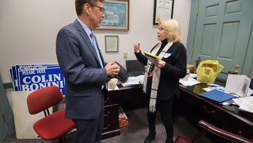 Shirley Shawe meets with Michael Ramone, R-Middle Run Valley at Legislative Hall in Dover.