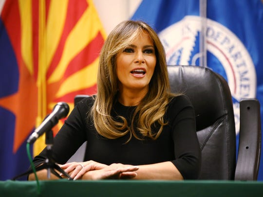 First lady Melania Trump participates in a discussion