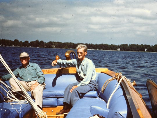 Eli Lilly (left) and Glenn Black on Lilly's boat on