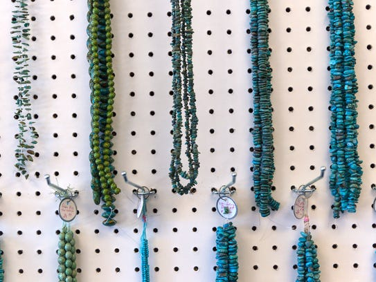 Necklaces are displayed Tuesday at Jack & the Bead