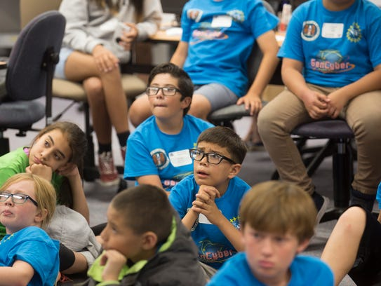 Students listen during a presentation Wednesday at