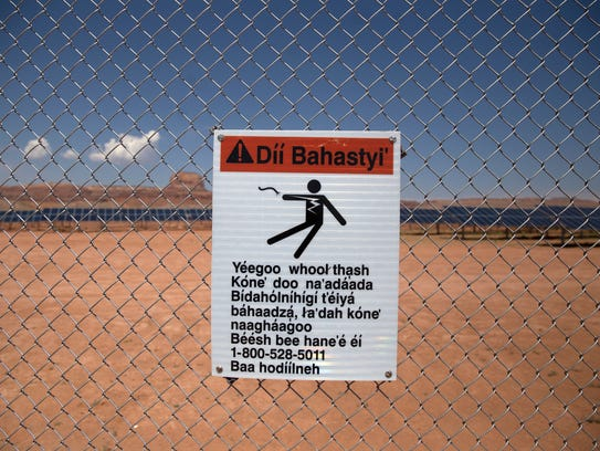 This sign at the Kayenta Solar Project facility in