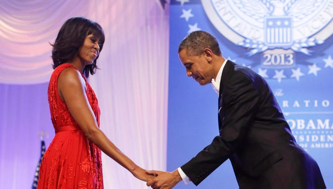 President Obama and first lady Michelle Obama during at an Inaugural Ball last year.