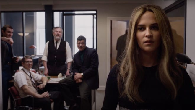 A still from a trailer for 'The Glorias' featuring Alicia Vikander (right) as Gloria Steinem. The third man from the left is David Harland Rousseau, a local actor with a part in the film.