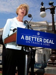 "Sen. Tammy Baldwin, D-Wis., speaks on Capitol Hill in Washington on Aug. 2, 2017, to unveil ""A Better Deal on Trade and Jobs."" Observers say Baldwin needs to replicate her 2012 success in purple counties that two years ago swung unusually hard from Barack Obama to Donald Trump."