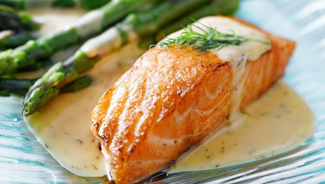 Broiled salmon with orange- dijon glaze