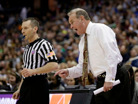 Mississippi State head coach Vic Schaefer is seen on