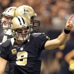 Saints quarterback Drew Brees (9) had his 13th career 400-yard game Sunday, tying Hall of Famer Dan Marino for second in NFL history — behind only Peyton Manning's 14.