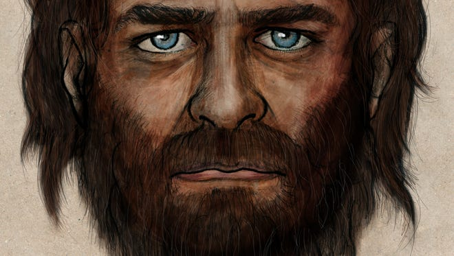 In this undated photo provided by the Spanish National Research Council (CSIC), a drawing depicting how a hunter-gatherer who lived in Europe some 7,000 years ago might have looked.