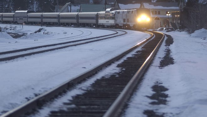 File photo of an Amtrak's train pulling into the Truckee Train Station in Truckee, Calif.