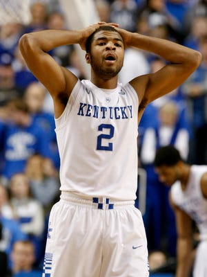 UK's Aaron Harrison, #2, is astonished by ref's call during their game against Ole Miss at Rupp Arena.Jan. 6, 2014