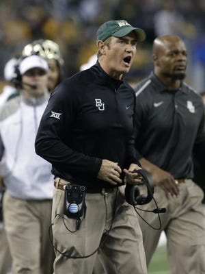 Baylor football coach Art Briles yells from the sideline during the Cotton Bowl on Jan. 1, 2015, in Arlington, Texas.