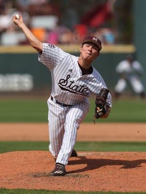 Mississippi State's Peyton Plumlee pitched four scoreless innings against Arkansas on Thursday.