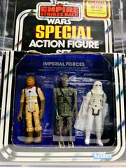 An Imperial Forces three-pack is part of a Star Wars Collection offering at Hake's Americana & Collectibles in Springettsbury Township, Tuesday, Oct. 10, 2017. Three-packs were offered briefly, with 16 different combinations offered--all of which are included in the collection. About 60 Star Wars items will be offered beginning with Auction 222, which will be online October 24. Dawn J. Sagert photo